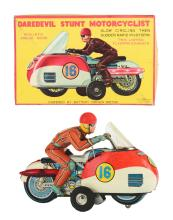 Lot 2246: Tin-Litho Battery Operated Dare Devil Stunt Motorcyclist.