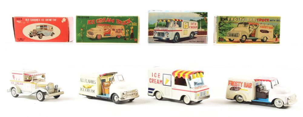 Lot 2244: Lot of 4: Japanese Tin-Litho Ice Cream Related Trucks.