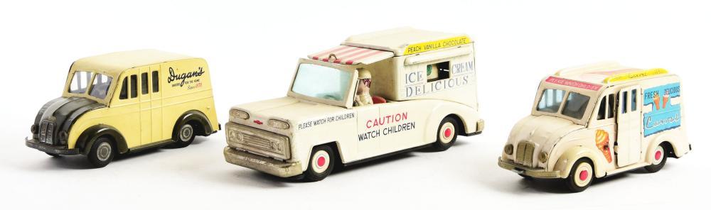 Lot 2245: Lot of 3: Japanese Tin-Litho Ice Cream & Dugans Toy Vehicles.
