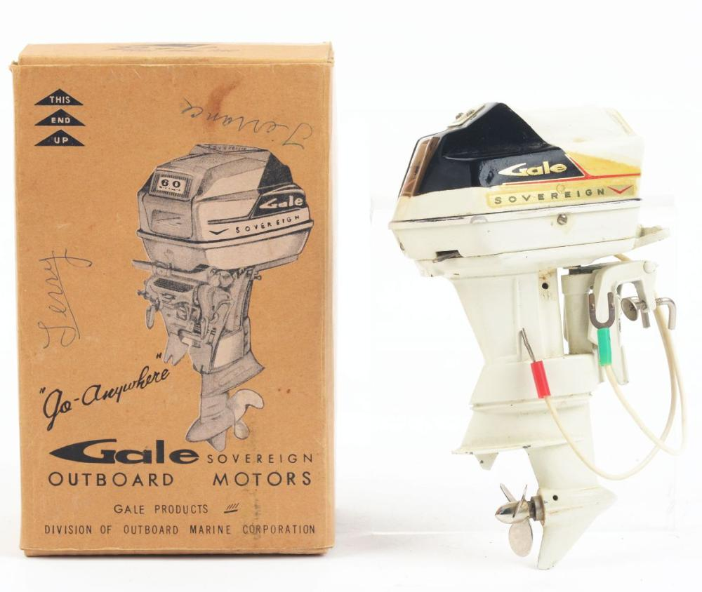 Lot 2249: Very Rare Gale Sovereign 60 HP Toy Boat Outboard Motor.