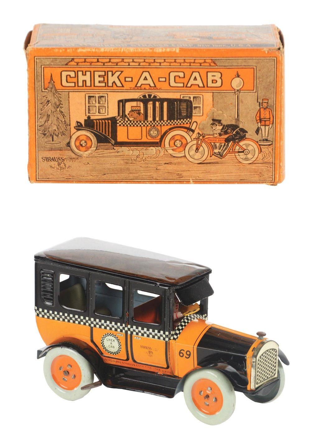 Lot 2257: Strauss Tin-Litho Wind-Up Check-A-Cab.