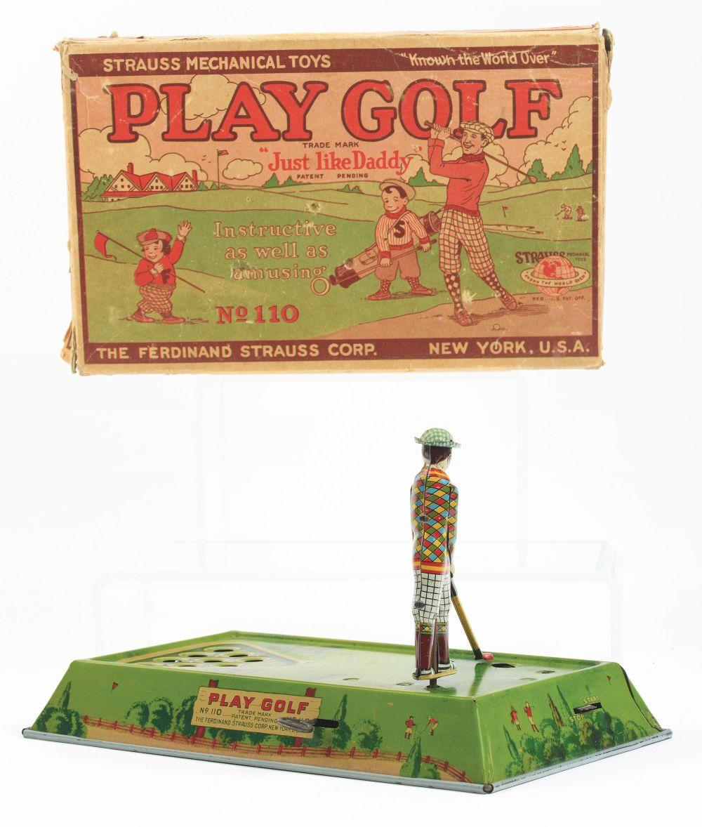 Lot 2253: Strauss Tin-Litho Wind-Up Play Golf Toy.