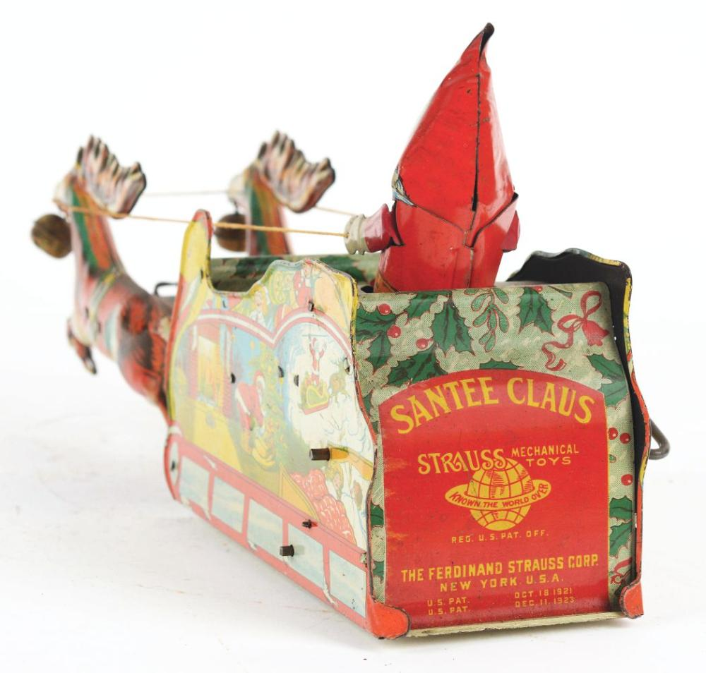 Lot 2256: Strauss Tin-Litho Wind-Up Santee Claus Reindeer & Sleigh Toy.