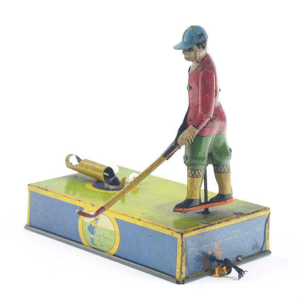Lot 2271: American Tin-Litho Jocko the Golfer Toy.
