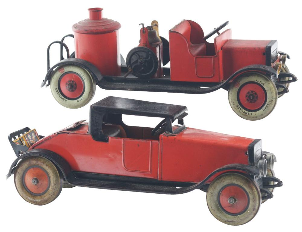 Lot 2265: Lot of 2: Pressed Steel Chein Vehicle Toys.