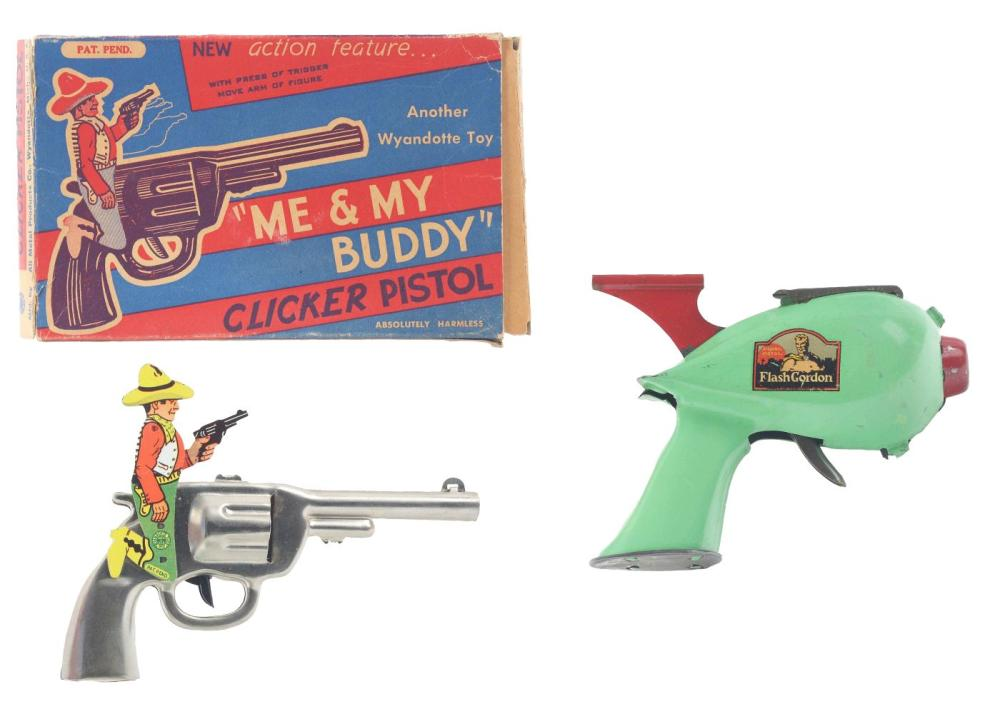Lot 2270: Lot of 2: American Made Tin-Litho Toy Pistols.