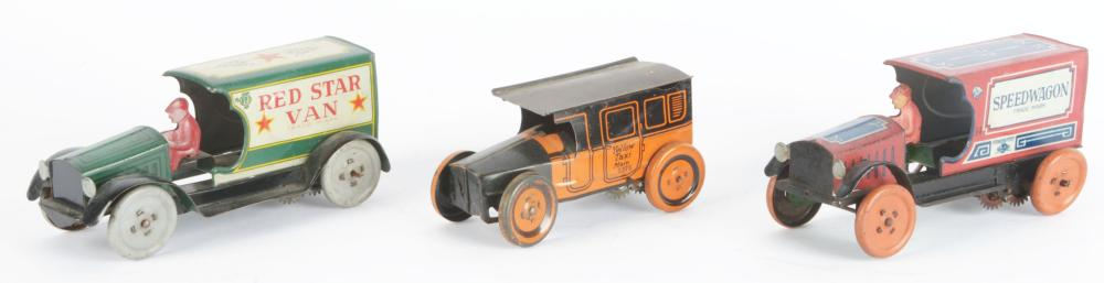 Lot 2268: Lot of 3: American Made Tin-Litho Vehicle Toys.