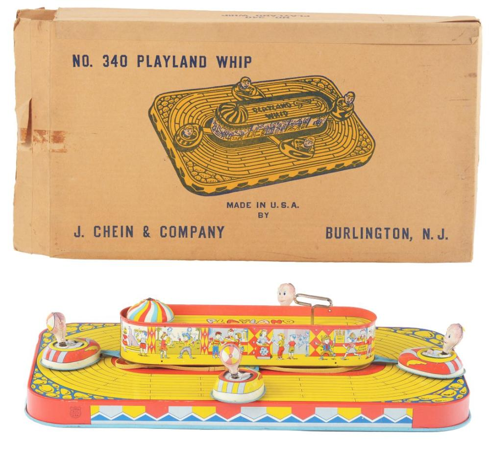 Lot 2264: Chein Tin-Litho Wind-Up Playland Whip Toy.