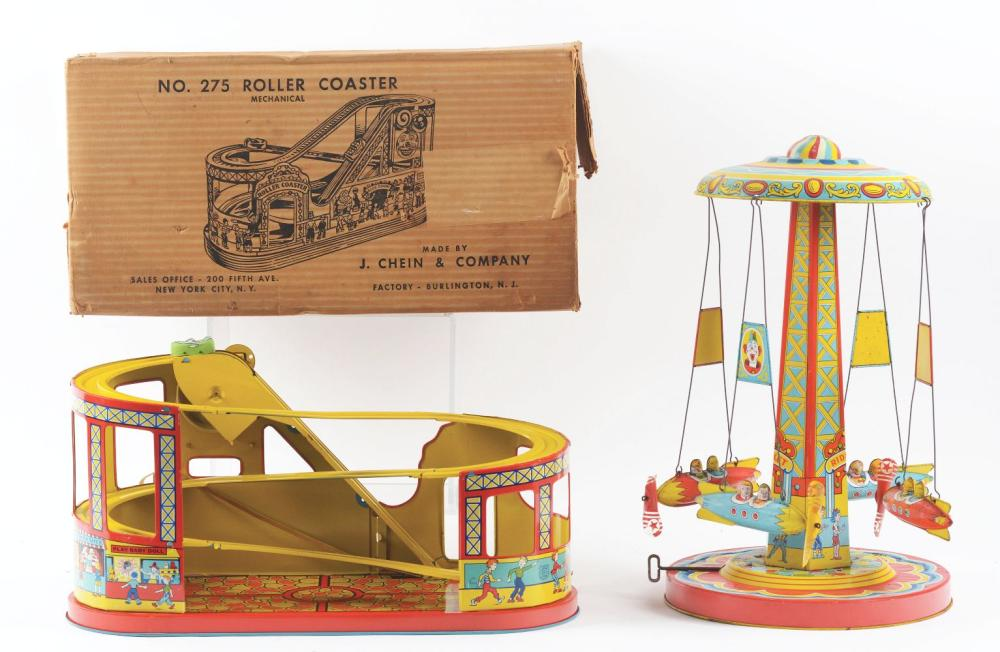 Lot 2263: Lot of 2: Chein Tin-Litho Wind-Up Amusement Park Toys.