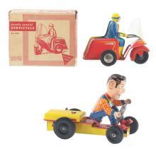 Lot 2275: Lot of 2: Ny-Lint Tin-Litho Wind-Up Cycle Toys.