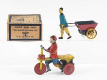 Lot 2280: Lot of 2: Early American Tin-Litho Wind-Up Toys.