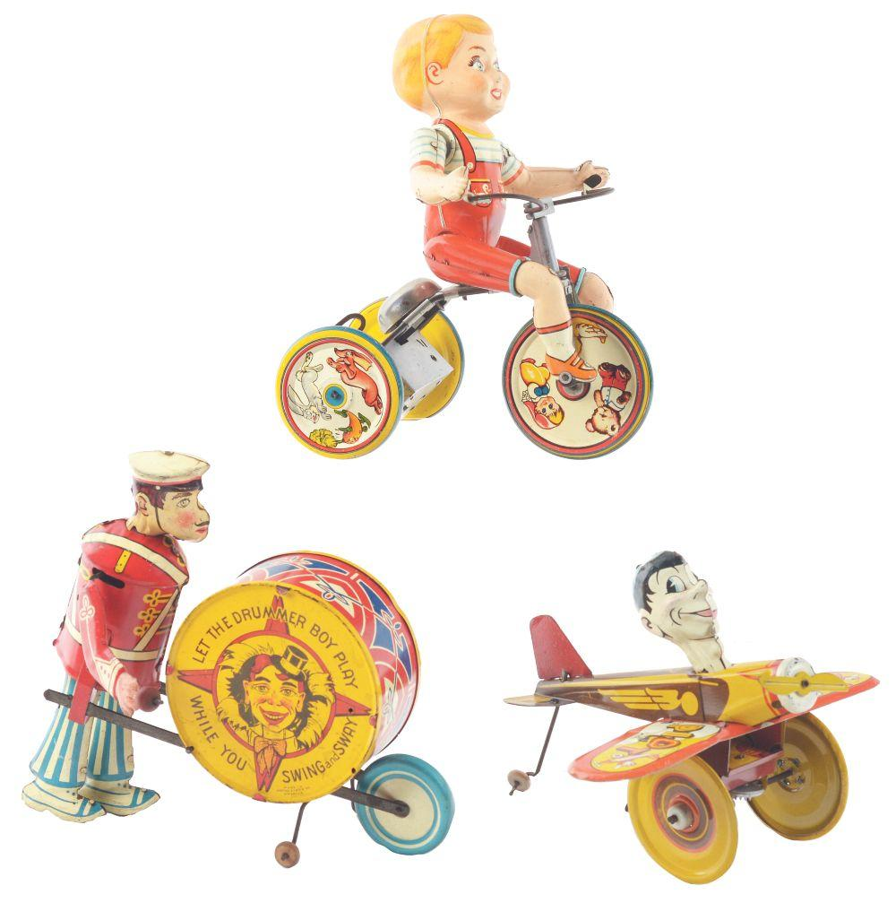 Lot 2278: Lot of 3: American Made Tin-Litho Wind-Up Character Type Toys.