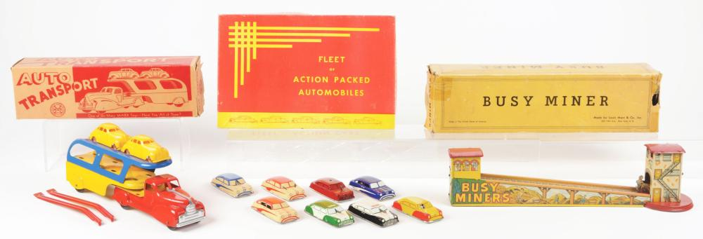 Lot 2282: Lot of 3: American Made Tin-Litho Vehicle Toys.