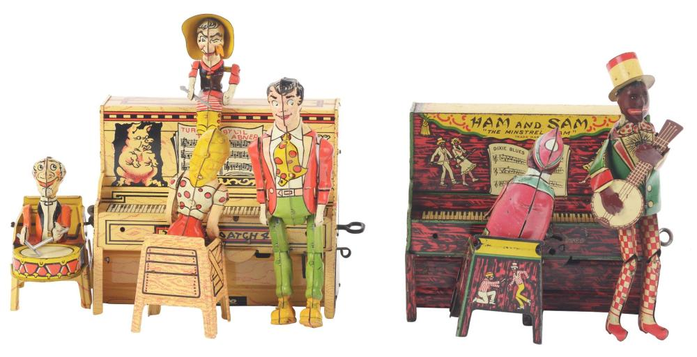 Lot 2274: Lot of 2: American Made Tin-Litho Band Toys.