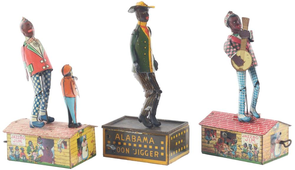 Lot 2277: Lot of 3: American Made Tin-Litho Wind-Up Roof Dancing Toys.