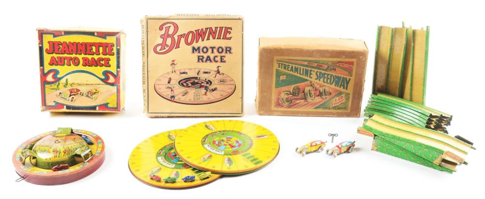 Lot 2283: Lot of 4: American Made Tin-Litho Racing Games.