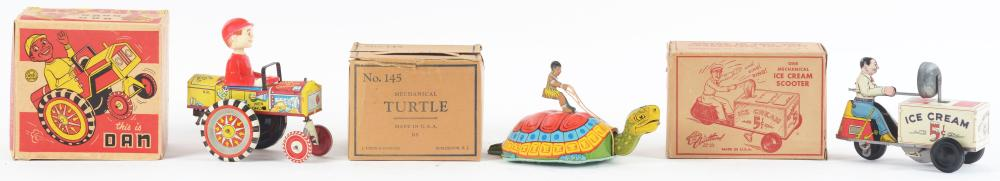 Lot 2276: Lot of 3: American Made Tin-Litho Wind-Up Toys.