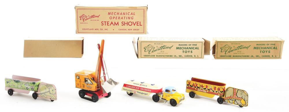 Lot 2292: Lot of 4: Tin-Litho Cortland Vehicle Toys.