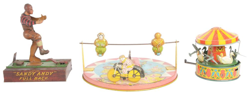 Lot 2290: Lot of 3: American Made Tin-Litho Toys.
