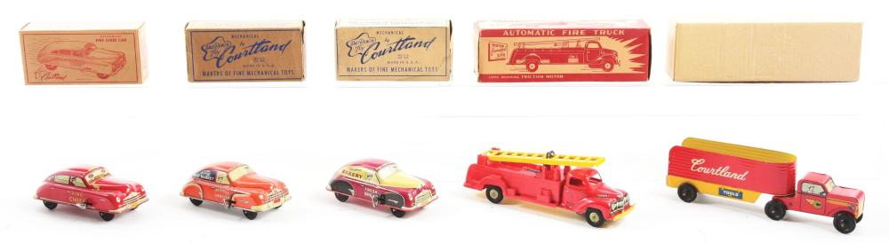Lot 2293: Lot of 5: Tin-Litho Cortland Vehicle Toys.