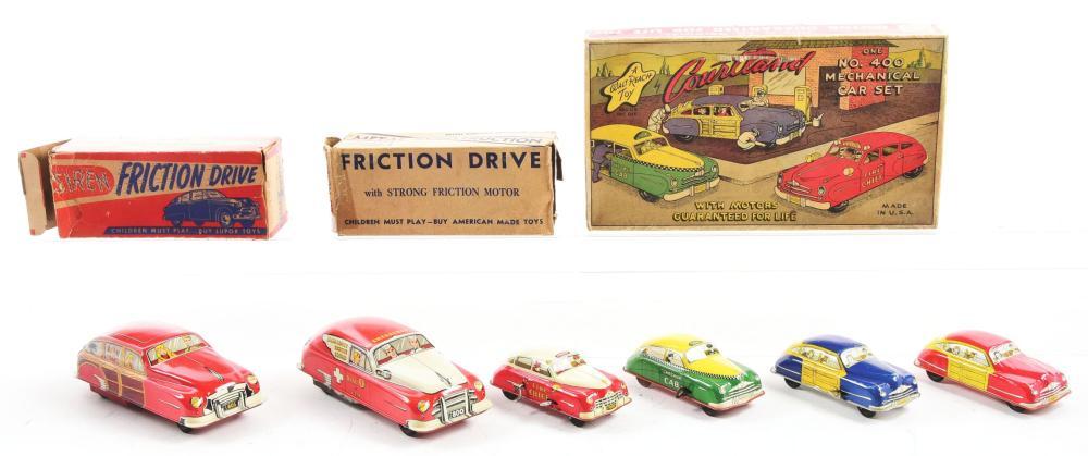Lot 2295: Lot of 3: Tin-Litho, Friction & Wind-Up Cortland & Lupor Vehicle Toys.