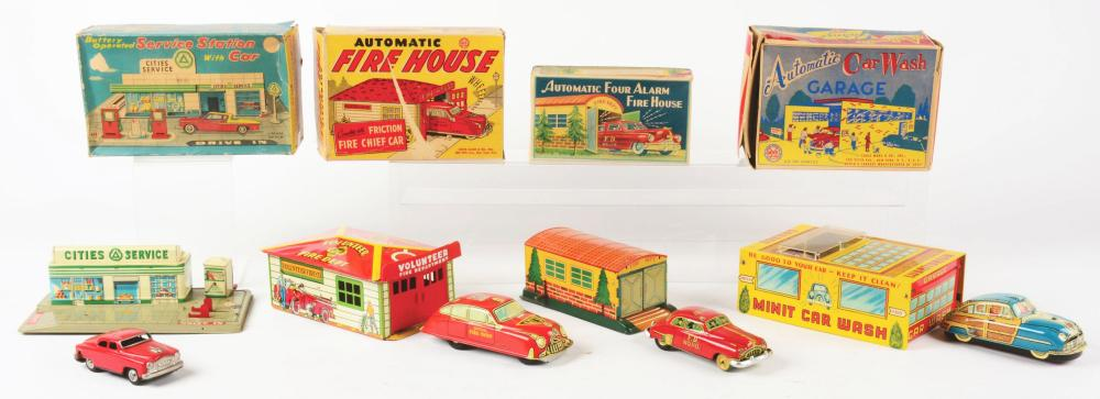 Lot 2291: Lot of 4: Japanese & American Made Service Station & Fire Department Sets.