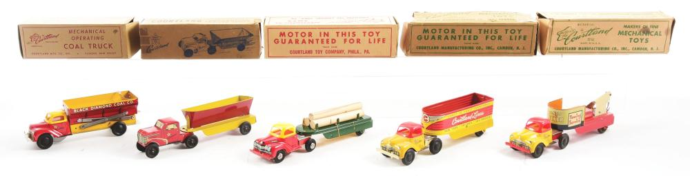Lot 2294: Lot of 5: Tin-Litho Wind-Up Cortland Toy Trucks.
