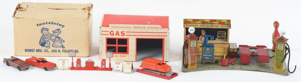 Lot 2300: Lot of 2: American Made Pressed Steel & Metal Service Station Sets.