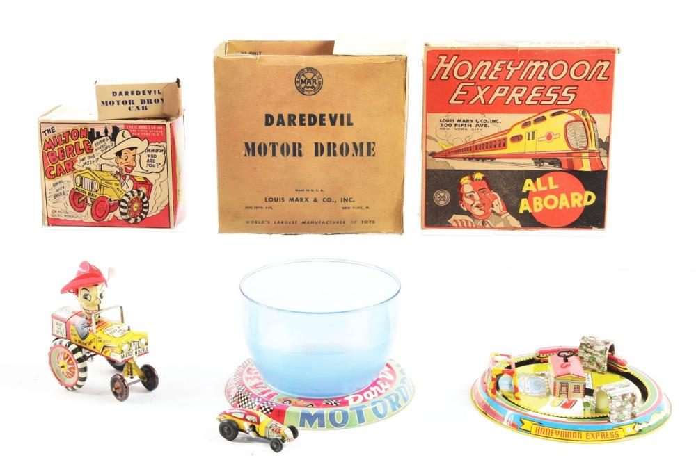 Lot 2308: Lot of 3: Marx Tin-Litho & Plastic Vehicle Toys.