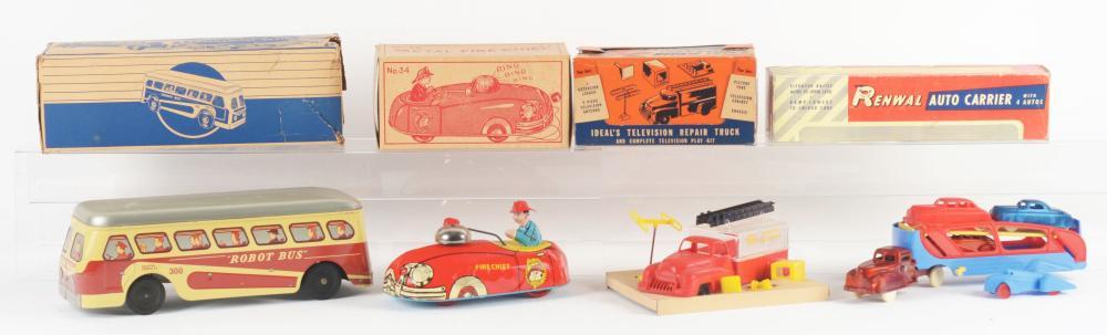 Lot 2304: Lot of 4: Tin-Litho & Plastic Vehicle Toys.