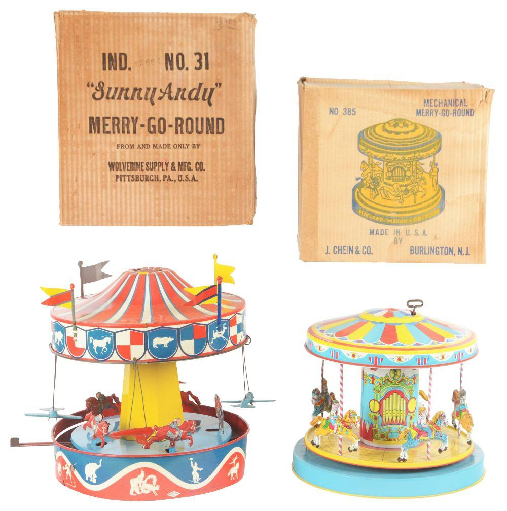 Lot 2312: Lot of 2: American Made Tin-Litho Go-Round Toys.