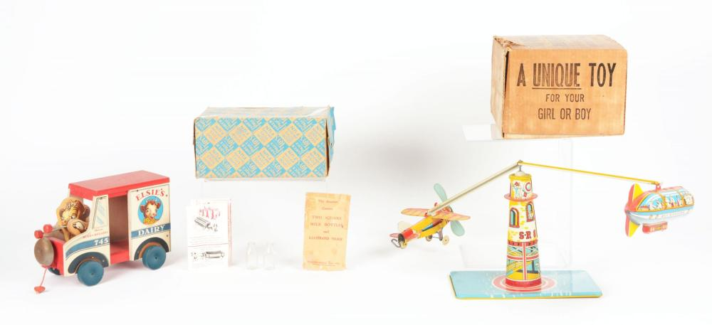 Lot 2307: Lot of 2: American Made Unique Art & Fisher Price Vehicle Toys.