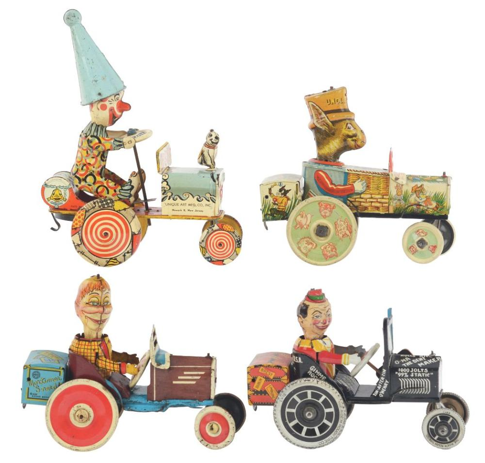 Lot 2321: Lot of 4: American Made Tin-Litho Wind-Up Whoopee Cars.