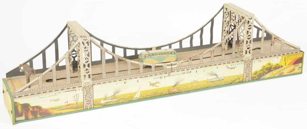 Lot 2322: Scarce Marx Tin-Litho Wind-Up George Washington Bridge Toy.