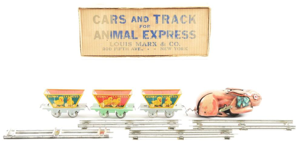 Lot 2324: Scarce Marx Tin-Litho Wind-Up Rabbit Animal Express Train.