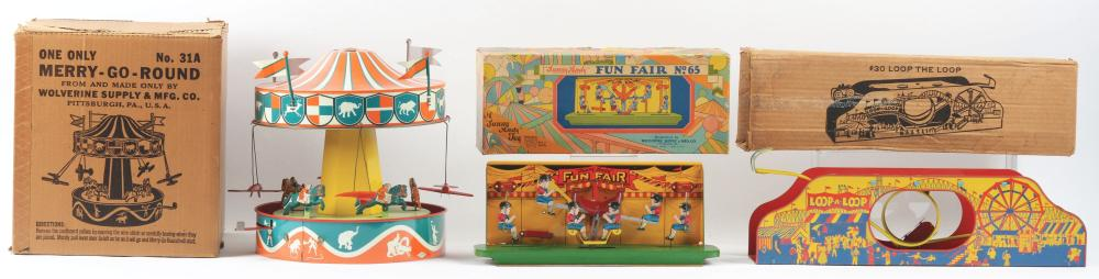 Lot 2320: Lot of 3: Wolverine Tin-Litho Wind-Up Amusement-Type Ride Toys.