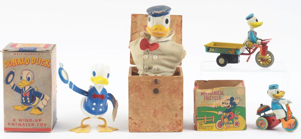Lot 2337: Lot of 4: American & Japanese Made Donald Duck Toys.