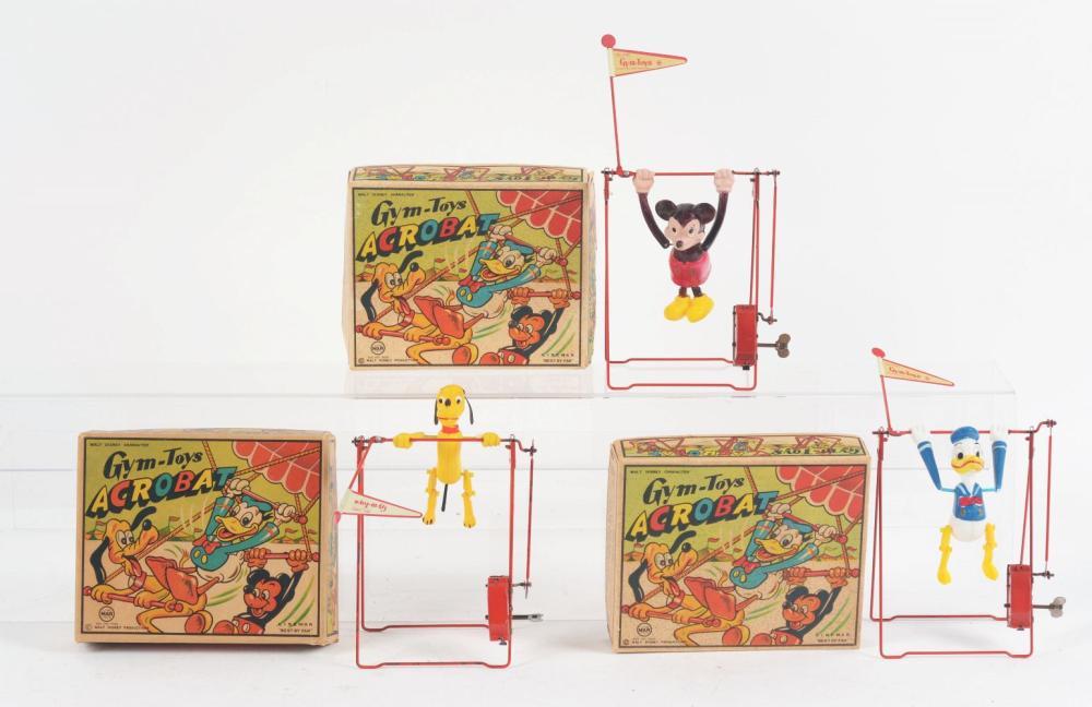 Lot 2345: Lot of 3: Linemar Walt Disney Acrobat Gym-Toys.