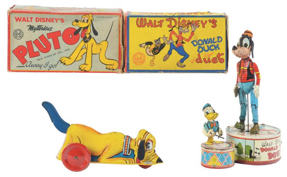 Lot 2349: Lot of 2: Marx Tin-Litho Wind-Up Walt Disney Toys.