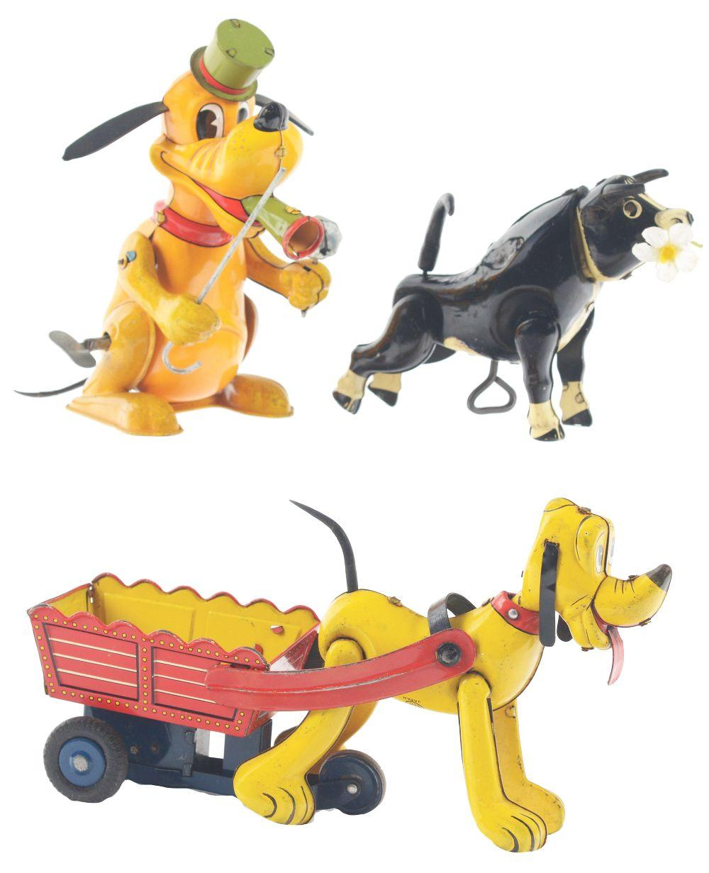 Lot 2344: Lot of 3: Tin-Litho Wind-Up & Friction Walt Disney Character Toys.