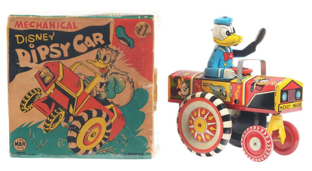Lot 2340: Linemar Walt Disney Tin-Litho Wind-Up Donald Duck Dipsy Car.