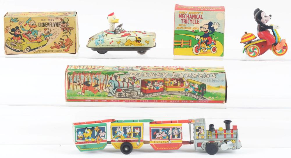 Lot 2348: Lot of 3: Marx Walt Disney Tin-Litho Wind-Up Character Toys.