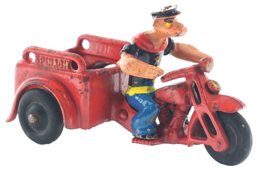 Lot 2358: Cast-Iron Hubley Popeye Spinach Patrol Motorcycle.