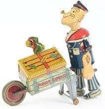 Lot 2359: Marx Tin-Litho Wind-Up Popeye Express Toy.