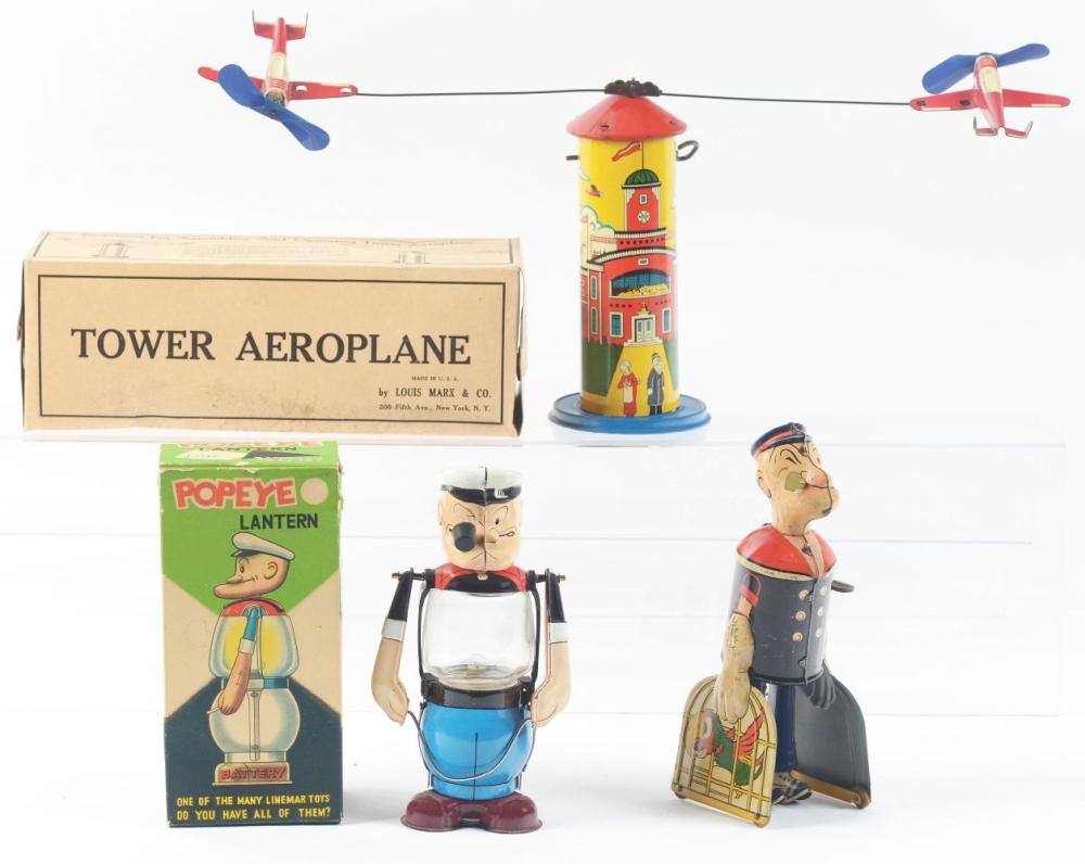 Lot 2360: Lot of 3: Tin-Litho Popeye Toys.