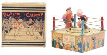 Lot 2361: Marx Tin-Litho Wind-Up Popeye the Champ Toy.