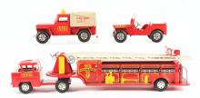 Lot 2367: Scarce Pressed Steel Marx Fire Fighter's Truck Set.