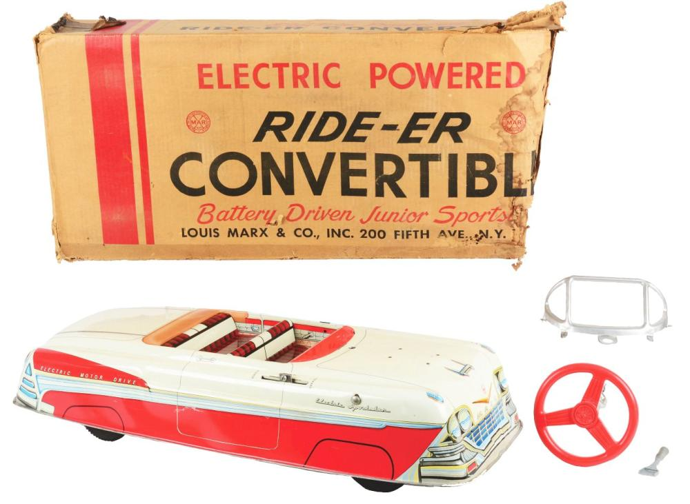 Lot 2368: Marx Tin-Litho Electric-Powered Ride-Er Convertible Automobile.