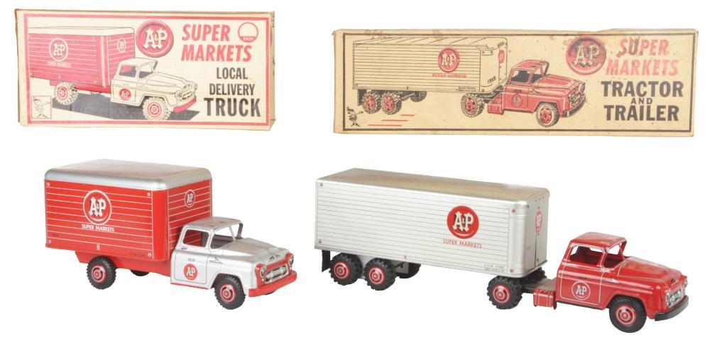 Lot 2366: Lot of 2: Marx Pressed Steel A&P Market Trucks.