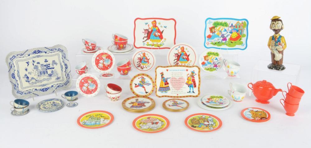 Lot 2372: Lot of Marx B-O-Plenty Wind-Up Toy & Six Early Child Tin-Litho Tea Sets.